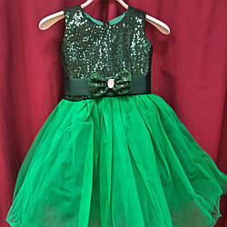 Зеленое детское платье Ёлочки. 3-4 года