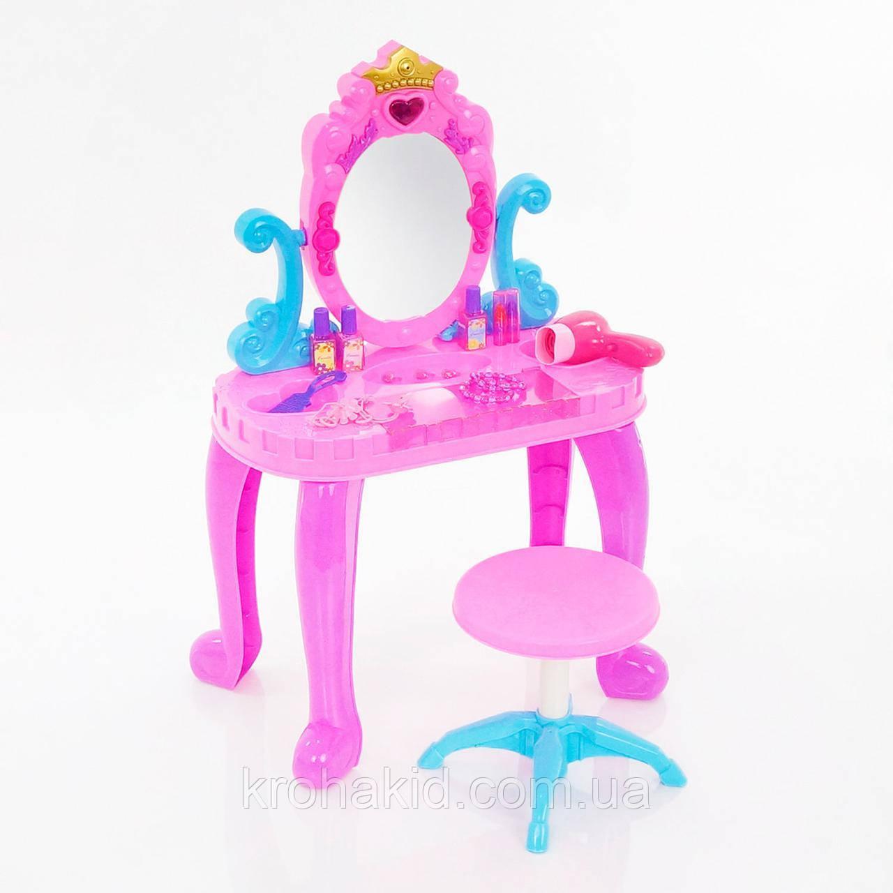 Детский Туалетный столик 661-39 (муз.,свет.,стул,фен, аксессуары) размер 44-23-74 см