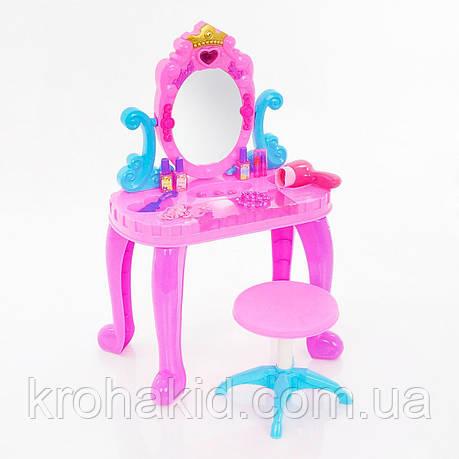 Детский Туалетный столик 661-39 (муз.,свет.,стул,фен, аксессуары) размер 44-23-74 см, фото 2