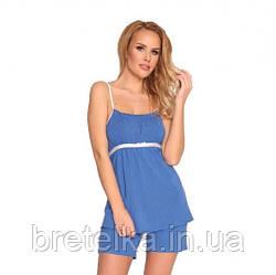 Пижама женская из вискозы майка и шорты синяя Delafense 915