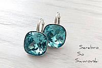 Эффектные сережки из серебра с кристаллами Сваровски ювелирной огранки в цвете Light turquoise