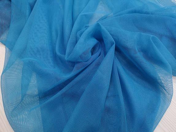 Ткань сетка стрейч голубая бирюза, фото 2