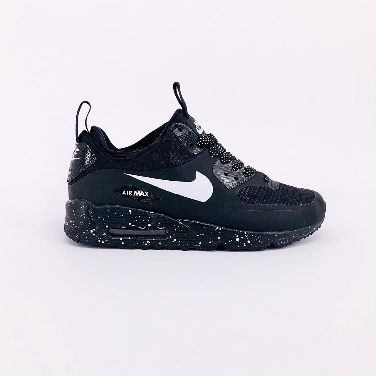 """Зимние кроссовки Nike Air Max 90 Mid Winter Sherpa """"Black"""" (Черные)"""