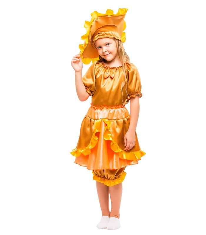 Костюм гриба Лисички, костюм Солнышко для девочки от 3 до 8 лет на новогоднюю постановку