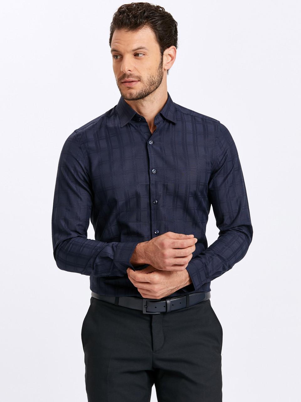 Синяя мужская рубашка LC Waikiki / ЛС Вайкики в атласную клетку
