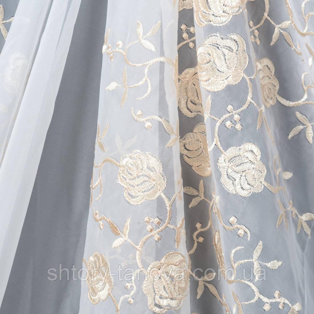 Тюль вуаль вышивка розы