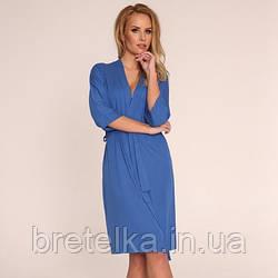 Халат женский вискоза короткий синий Delafense 941 L