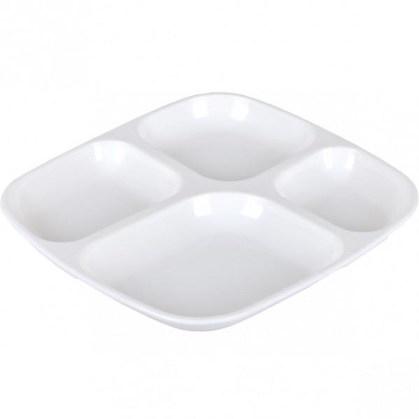 Меламиновая тарелка порционная 4 сектора 3991–10 26×24×2,5 см            3991-10