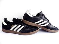 Мужские кожаные кроссовки Adidas Samba 100% Оригинал р-р 44 (28 см)  (б/у,сток) original адидас самба чёрные