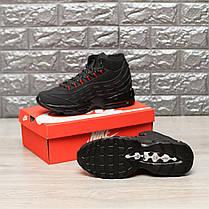 """Зимние кроссовки на меху Nike Air Max 95 Hi """"Black/Red"""" (Черные/Красные), фото 3"""