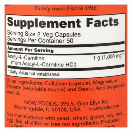 NOW Acetyl-L-Carnitine 500 mg 100 veg caps, фото 2