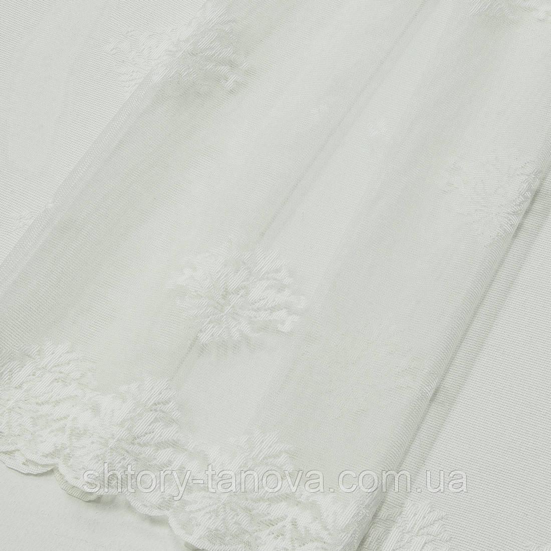 Гардинное полетно гипюр лилия молочный