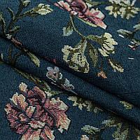 Гобелен эустомы цветы,фон сине-серый