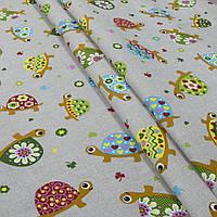 Декоративная ткань цветные черепашки/tortugas