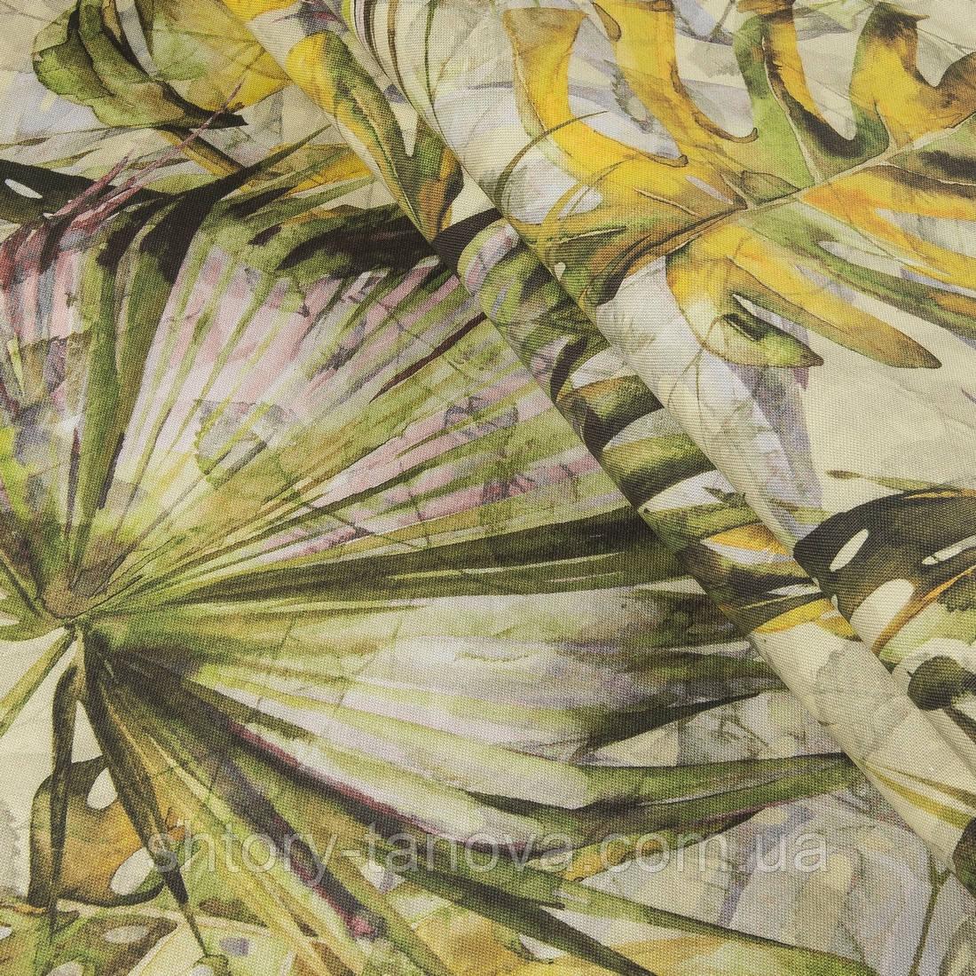 Декоративная ткань осенние листья желтый,т.зеленый