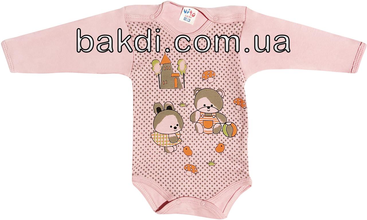 Дитячий боді (0-3 міс.) трикотаж рожевий на дівчинку з довгим рукавом для новонароджених ТН-125