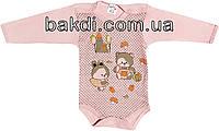 Детское боди с длинным рукавом возраст 0-3 мес. трикотаж розовый на девочку для новорожденных ТН-125