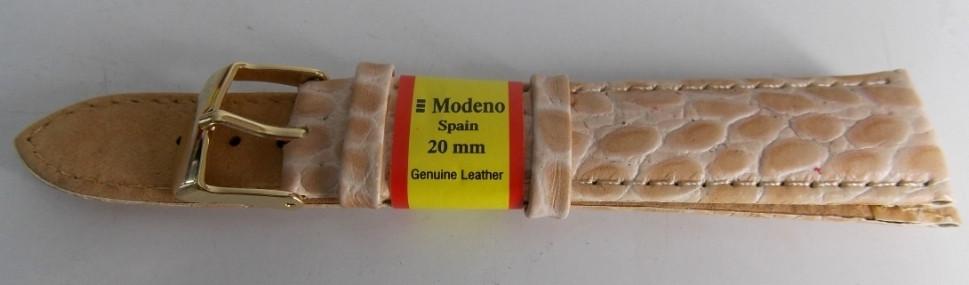 Ремешок кожаный MODENO (ИСПАНИЯ) 20 мм, бежевый зм.
