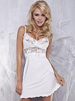 Белая вискозная ночная рубашка