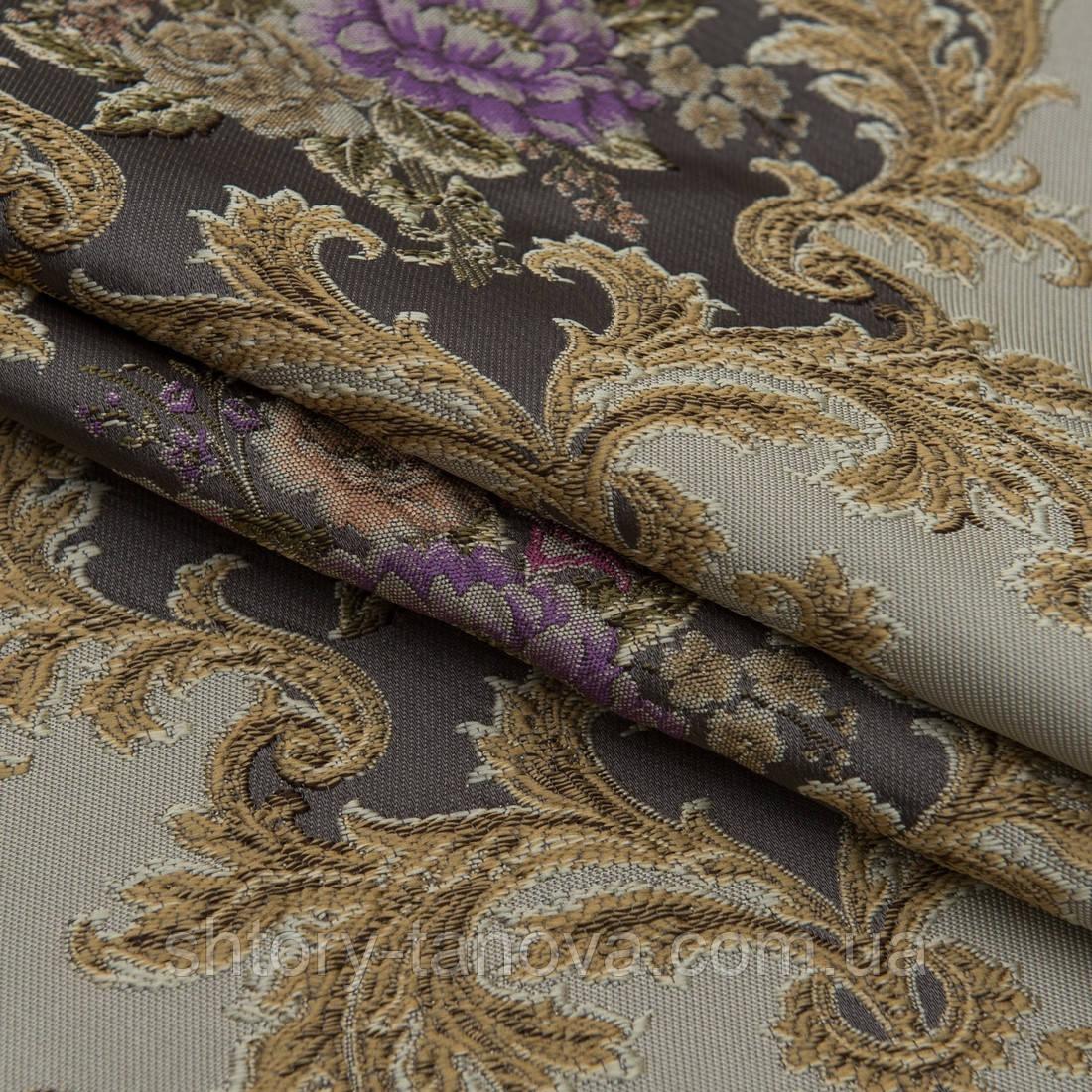 Жаккард прованс/ песок т.беж-серый,цветы фиолет