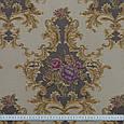 Жаккард прованс/ песок т.беж-серый,цветы фиолет , фото 3