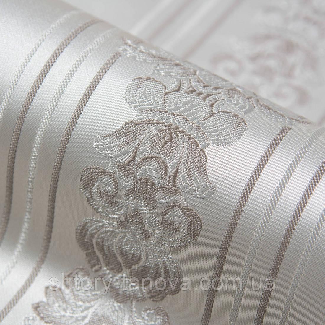 Декоржаккардовая ткань полоса св.серый серый