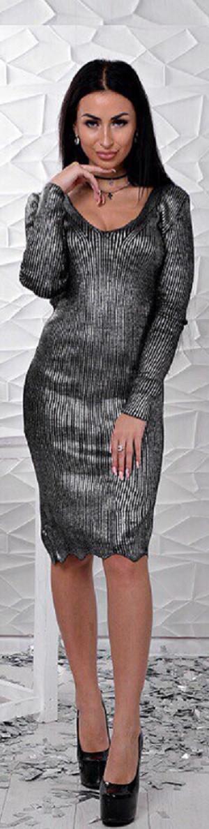 Блестящее трикотажное платье с фигурным низом 42-46 р, трикотажные платья оптом от производителя
