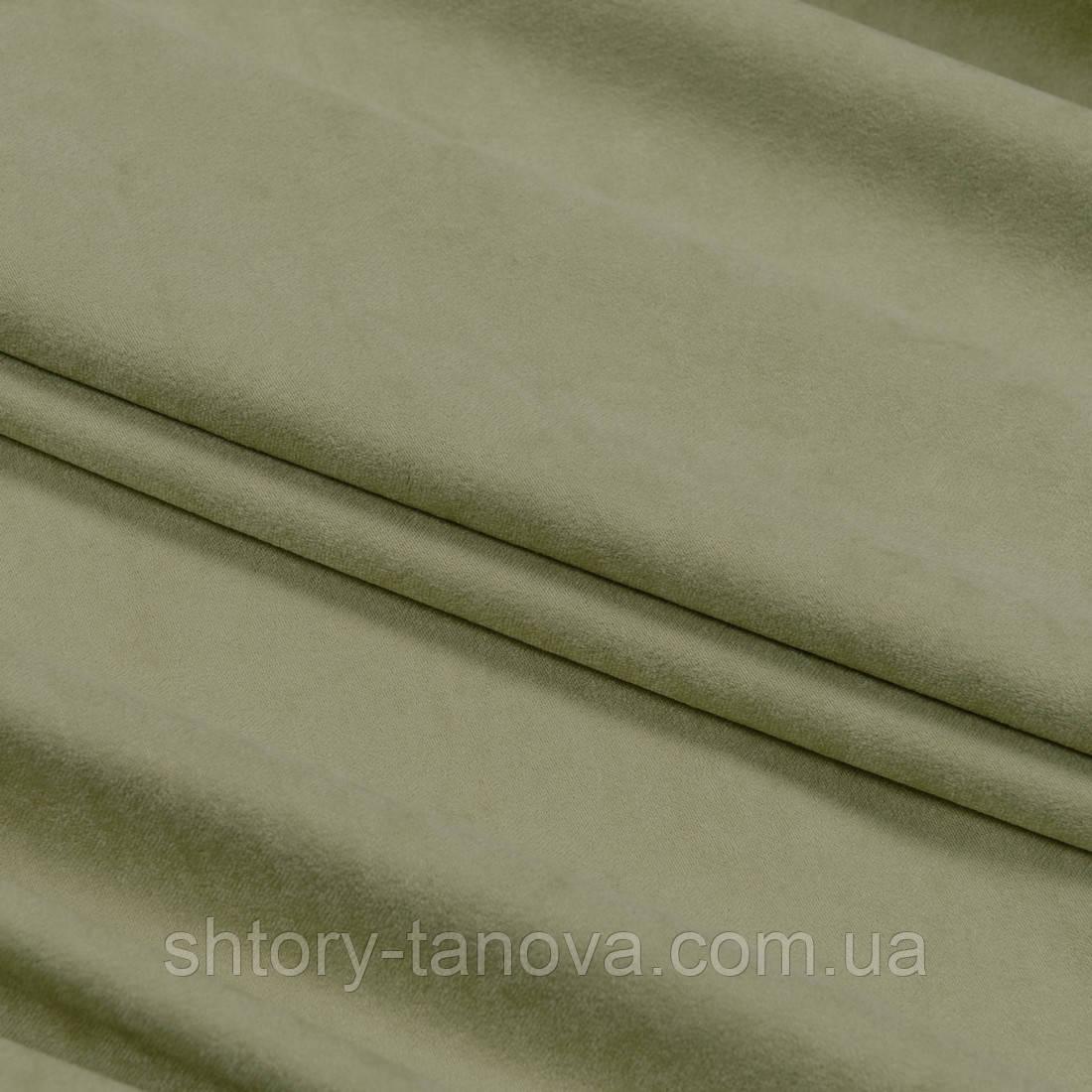 Замша для штор и декора зеленая оливка