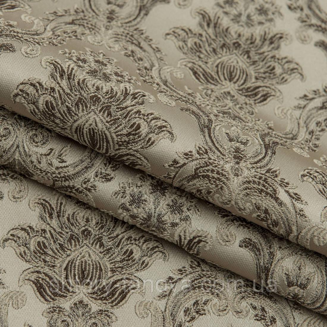 Ткань для пошива штор вензель /беж,коричневый