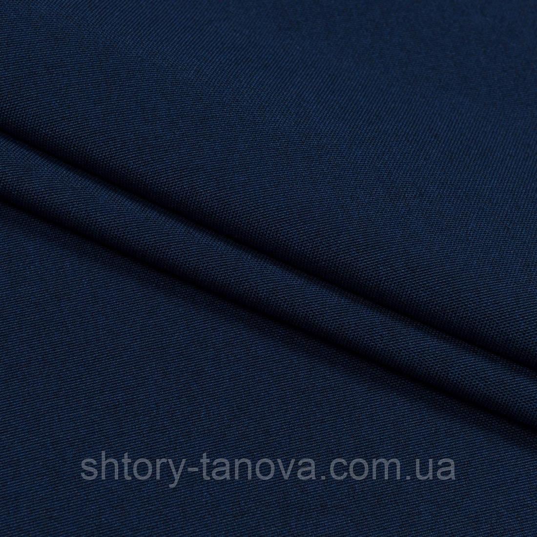 Декоративна тканина щільна рогожка т. синій
