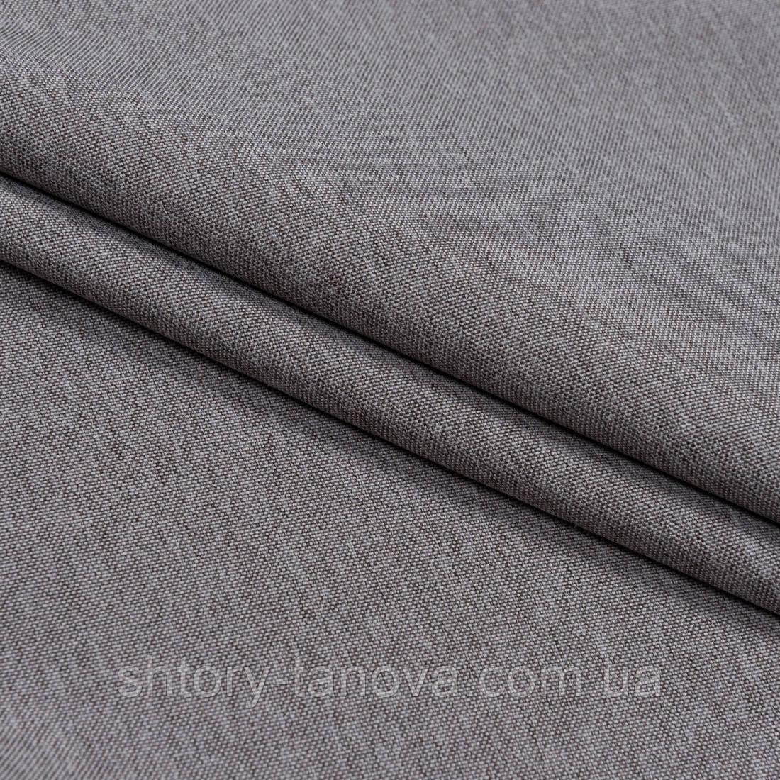 Декоративная ткань плотная рогожка  меланж коричневый