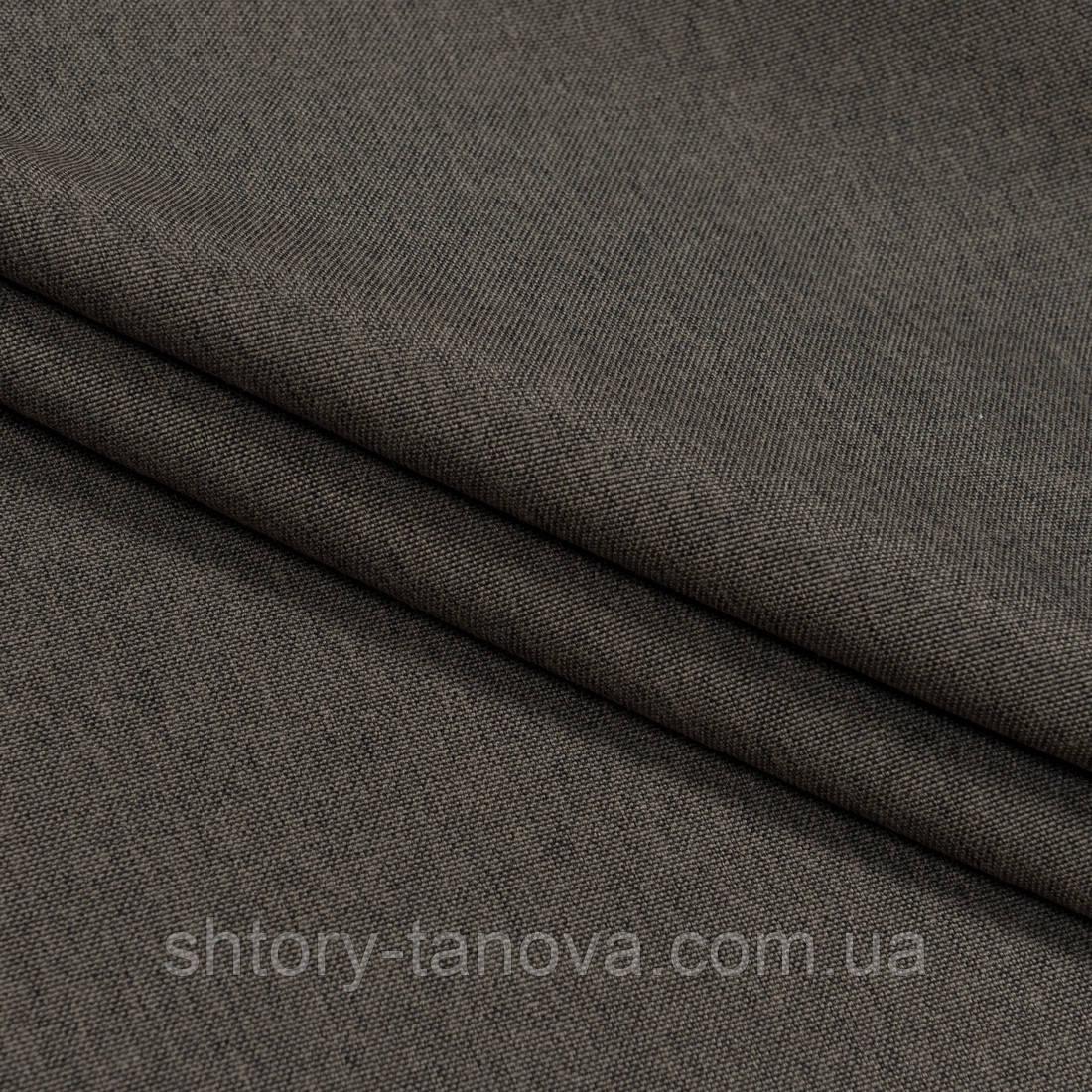 Декоративна тканина щільна рогожка т. коричневий
