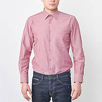 Рубашка мужская бордовая в полоску