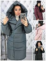 Женская дутая куртка-пальто на кнопках 17250, фото 1