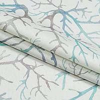 Декоративная ткань самара кораллы бирюзовые