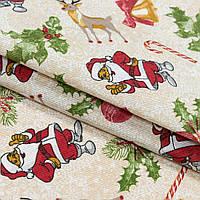 Декоративная новогодняя ткань дед мороз