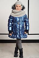 Зимний Пуховик Для Девочки Синего Перламутрового Цвета Pezzo D'oro,Италия