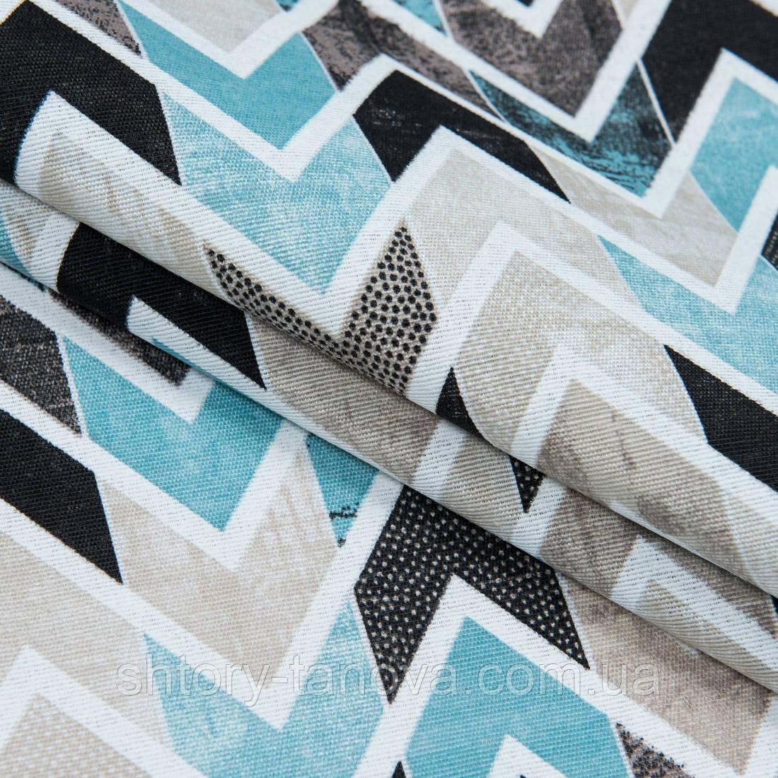 Декоративна тканина лонета лайф/life зигзаг блакитний,чорний,беж