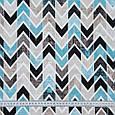 Декоративна тканина лонета лайф/life зигзаг блакитний,чорний,беж, фото 3