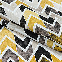 Декоративная ткань Испания зиг-заг горчица,черный,беж