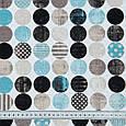 Ткань для штор горохи голубой.черный.беж, фото 3