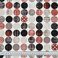 Декоративна тканина лонета лайф/life /горохи коричнево-бурий,чорний,беж, фото 3