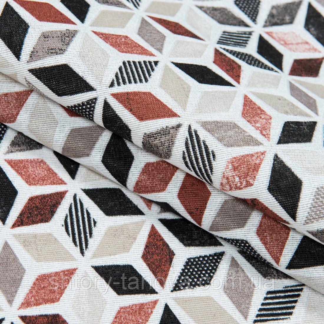 Декоративна тканина лонета лайф/life /абстракція коричнево-бурий,чорний,беж