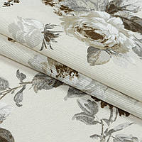 Декоративная ткань лонета элиана/eliana цветы крупные серый беж,фон молочный