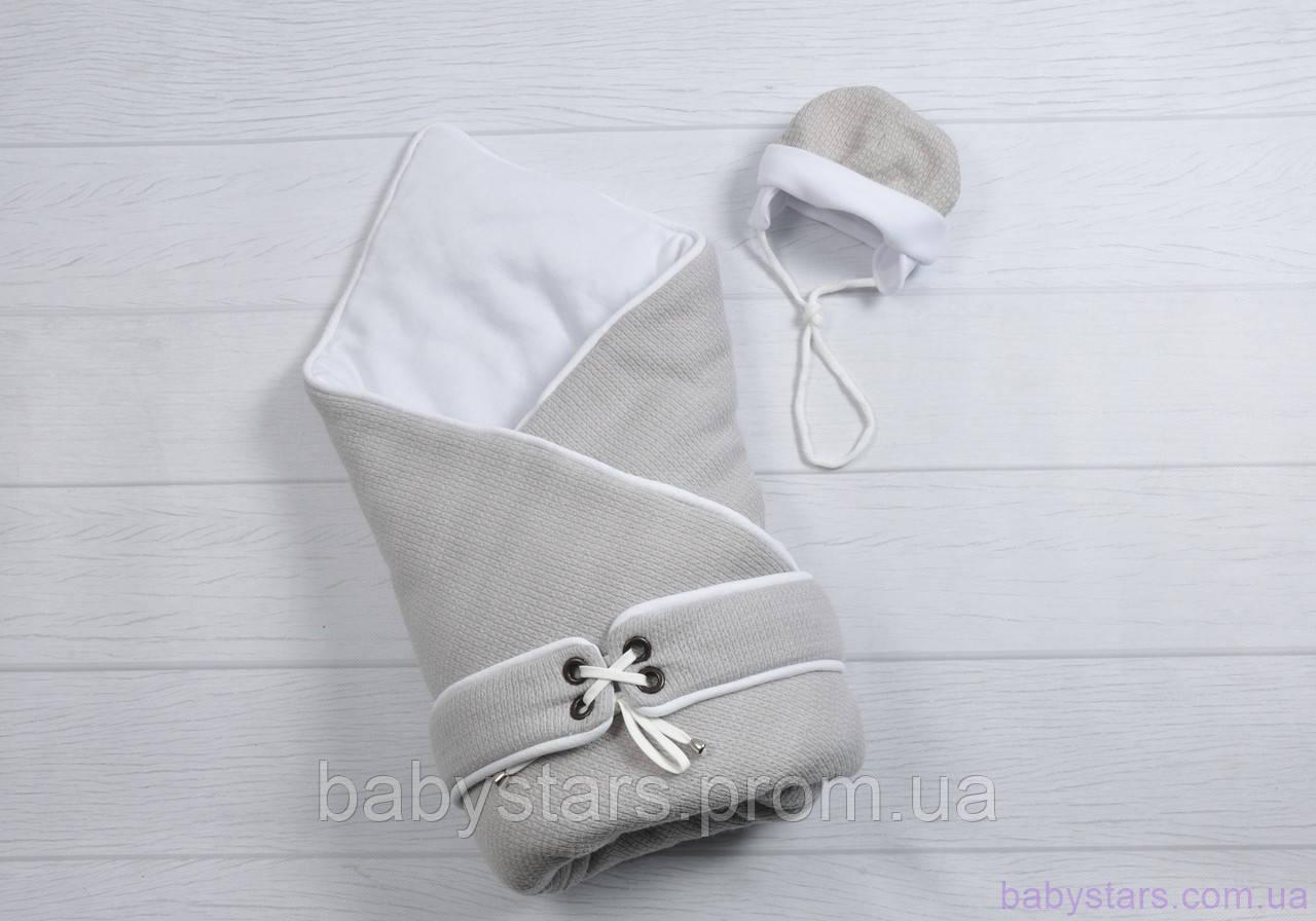 """Конверт-одеяло для новорожденного с шапочкой """"Путешественник"""", на трикотаже, серый"""