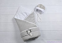 """Конверт-одеяло для новорожденного с шапочкой """"Путешественник"""", на трикотаже, серый, фото 1"""