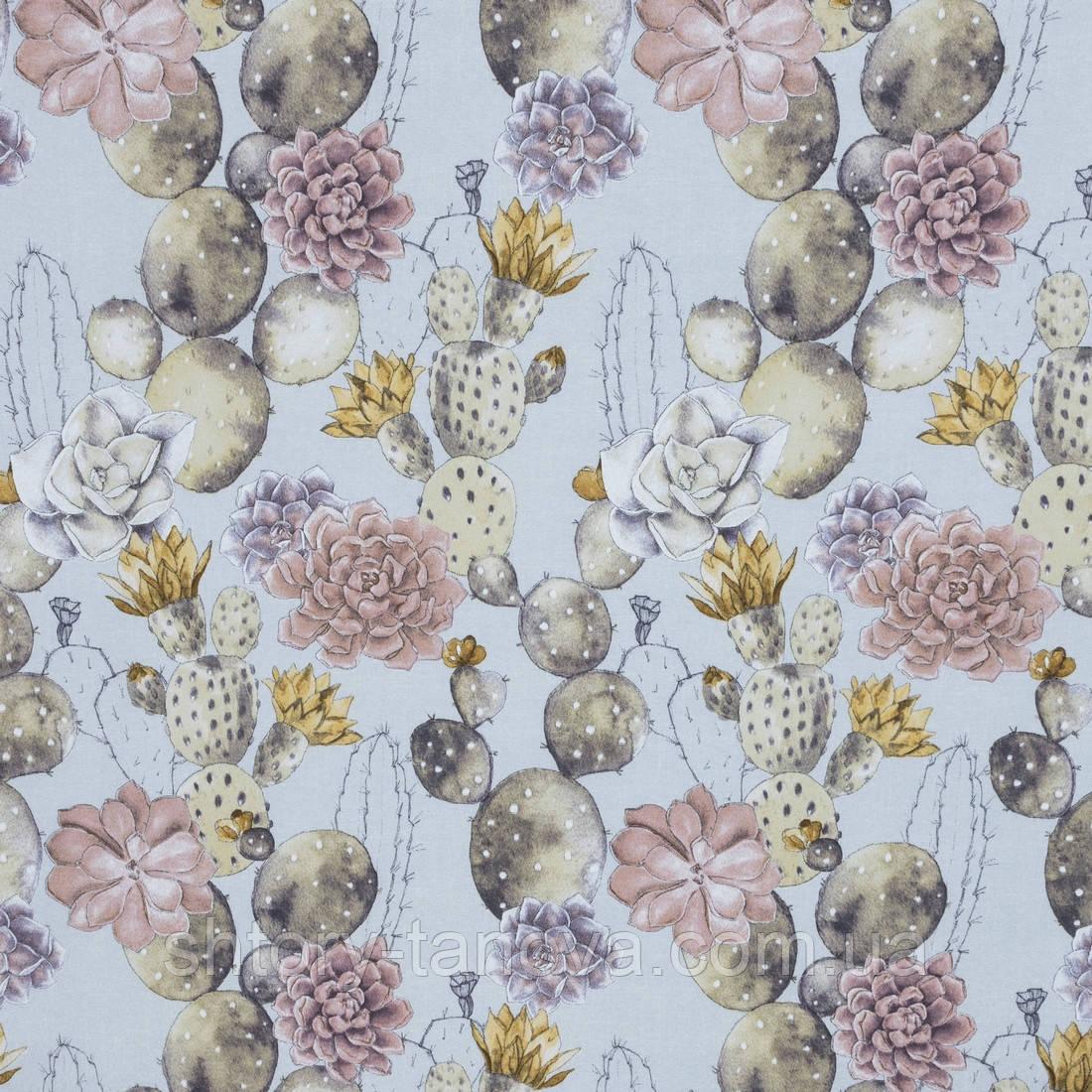 Декоративна тканина лонета эдэн/eden квітучі кактуси ,какао,сіро-жовтий