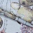 Декоративна тканина лонета эдэн/eden квітучі кактуси ,какао,сіро-жовтий, фото 2