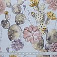 Декоративна тканина лонета эдэн/eden квітучі кактуси ,какао,сіро-жовтий, фото 3