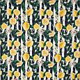 Декоративна тканина панама лимон / lemons чорний , жовтий, фото 2